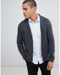ASOS Vest Met Sjaalkraag Van Lamswol In Antraciet in het Gray voor heren