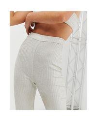 Pantalon évasé d'ensemble effet côtelé à paillettes Fashionkilla en coloris Pink
