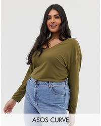 ASOS DESIGN Curve - Tunique oversize à col V - Kaki ASOS en coloris Green