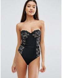 ASOS Black Premium Lace Cupped Swimsuit