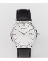 Sekonda - Silver Face Black Leather Strap Watch Exclusive To Asos for Men - Lyst