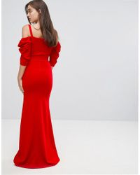 TFNC London - Red Fishtail Maxi Dress With 80's Off Shoulder - Lyst