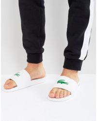 Lacoste White Fraisier Croc Sliders