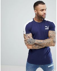 05836a531 PUMA Archive T7 Muscle Fit T-shirt In Navy 57501506 in Blue for Men ...