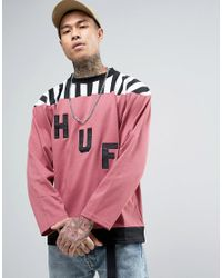 Huf Pink Long Sleeve T-shirt With Large Logo for men
