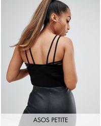 ASOS DESIGN Petite - Body style débardeur avec effet cage au dos ASOS en coloris Black