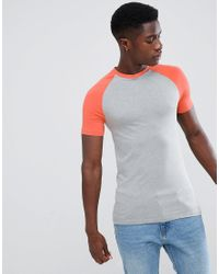 ASOS Blue Muscle Fit Raglan T-shirt With Contrast Sleeves for men