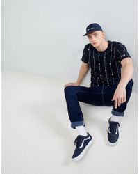 Champion Blue T-shirt With Stripe Logo Print In Navy for men