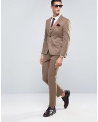 French Connection - Brown Flannel Slim Fit Suit Trousers for Men - Lyst