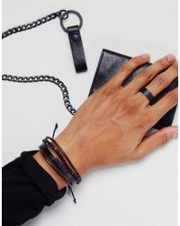 ASOS - Bracelet And Ring Pack In Black for Men - Lyst