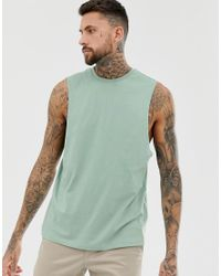 ASOS Green Organic Relaxed Sleeveless T-shirt With Dropped Armhole for men