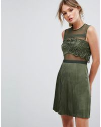 Three Floor Green Mini Dress With Pleated Satin Skirt