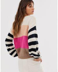 Pull à rayures Minimum en coloris Pink