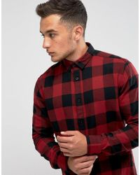 Only & Sons Red Check Shirt In Slim Fit for men