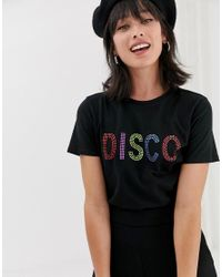 Warehouse T-shirt With Embellished Disco Slogan In Black