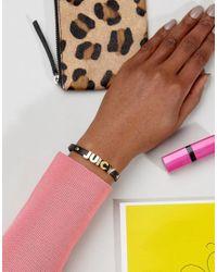 Juicy Couture - Black Signature Leather Bracelet - Lyst
