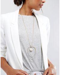 ASOS - Metallic Mixed Metal Pearl Long Pendant Necklace - Lyst