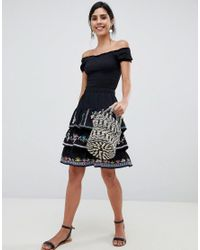 ASOS - Black Design Tiered Mini Sun Skirt With Embroidery - Lyst