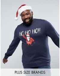 Threadbare PLUS – Weihnachtspullover mit Santa-Design in Blue für Herren
