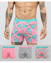 ASOS Multicolor Jersey Boxers With Dinosaur & Pizza Print 3 Pack for men