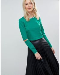 Vero Moda Green Sporty Crop Top With Cut Out Sleeve Detail