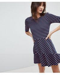 Vero Moda Blue Stripe Mini Skater Dress In Navy
