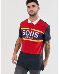 Polo color block à grand logo Only & Sons pour homme en coloris Red
