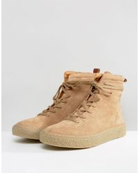 ASOS - Multicolor Asos Trainer Boots In Stone Suede With Back Pull for Men - Lyst