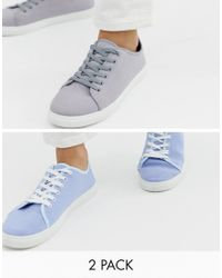 Truffle Collection Blue Two Pack Lace Up Plimsolls for men