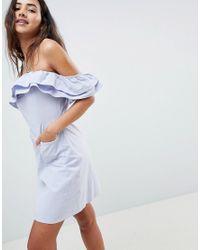 ASOS - Blue Ruffle Off Shoulder Mini Sundress - Lyst