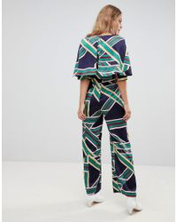 Liquorish Blue Stripe Wide Leg Jumpsuit