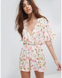 Oh My Love Pink Batwing Floral Romper