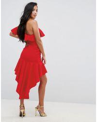 ASOS Red High Low Ruffle Bodycon Mini Dress