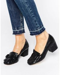 Office Black Monty Buckle Fringe Mid Heeled Loafers