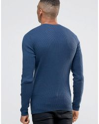 New Look Blue Ribbed Muscle Fit Jumper With Crew Neck In Navy for men