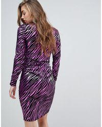 Vestito midi zebrato con arricciature di Miss Selfridge in Purple