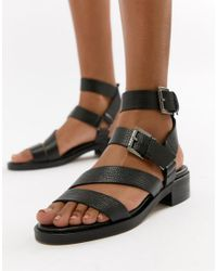ASOS Black Lotus Leather Chunky Sandals
