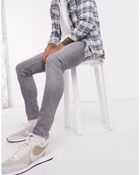 Topman – Hautenge Jeans aus Bio-Baumwolle in Gray für Herren