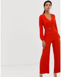 Комбинезон С Длинными Рукавами И Поясом -красный AX Paris, цвет: Red