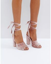Truffle Collection Natural Pearl Stud Heeled Sandals