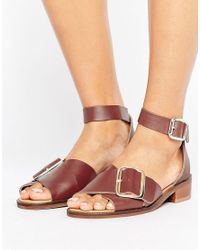 H by Hudson Red H By Hudson Buckle Leather Flat Sandal