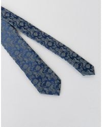 Noose And Monkey - Blue Floral Jacquard Blade Tie for Men - Lyst