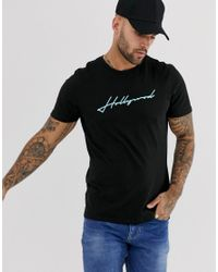 New Look Black T-shirt With Hollywood Print for men