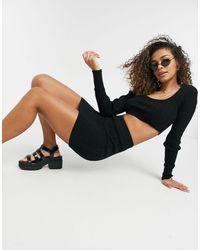 Комплект Черного Цвета Из Укороченного Джемпера И Шорт Вязки В Косичку -черный Цвет Free People, цвет: Black