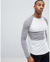 ASOS - Gray Long Sleeve T-shirt With Half And Half Colour Block In Textured Fabric for Men - Lyst