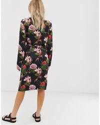 Natalia - Vestito a portafoglio a fiori di Just Female in Black
