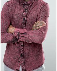 ASOS | Purple Regular Fit Denim Shirt With Acid Wash for Men | Lyst