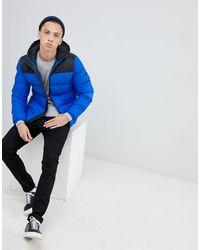 Tokyo Laundry – Jacke mit Steppbahnen und Kapuze in Blue für Herren