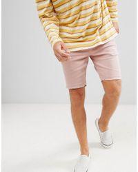 Bershka Slim Fit Denim Shorts In Pink for men