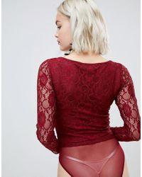 Body en dentelle à manches longues - Bordeaux New Look en coloris Red